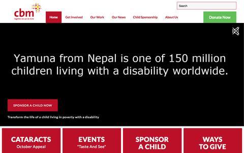 Screenshot of Home Page cbm-nz.org.nz - cbm NZ | Child Poverty Sponsorship | Donate NZ - captured Oct. 16, 2015