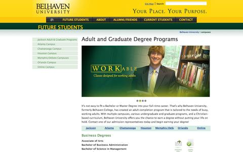 Screenshot of Locations Page belhaven.edu - Belhaven University Adult Completion Degree Programs in Jackson, MS, Orlando, FL, Houston, TX, and Memphis, TN. - captured Sept. 19, 2014