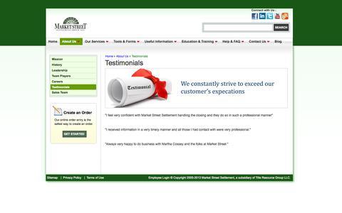 Screenshot of Testimonials Page mssg.com - Testimonials - Market Street Settlement Group - captured Oct. 27, 2014