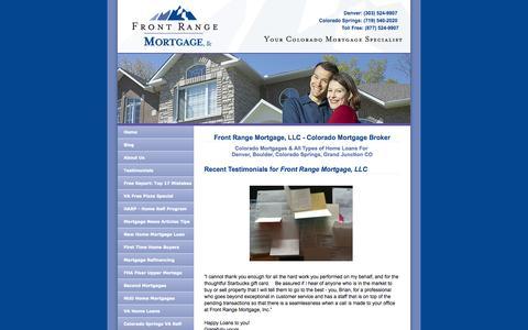 Screenshot of Testimonials Page frontrangemortgage.com - Colorado Mortgage Broker - Front Range Mortgage - Denver & Colorado Springs - captured Oct. 6, 2014
