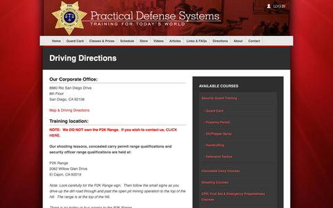 Screenshot of Maps & Directions Page pdsclasses.com - Driving Directions | Security Guard Card Training - captured Sept. 29, 2018