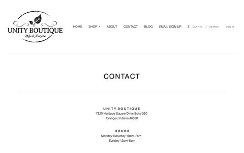 Screenshot of Contact Page unityboutique.com - CONTACT | Unity Boutique - captured Jan. 10, 2016