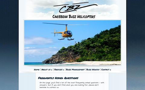Screenshot of FAQ Page caribbean-buzz.com - Frequently Asked Questions - Caribbean Buzz helicopters - captured Nov. 1, 2014