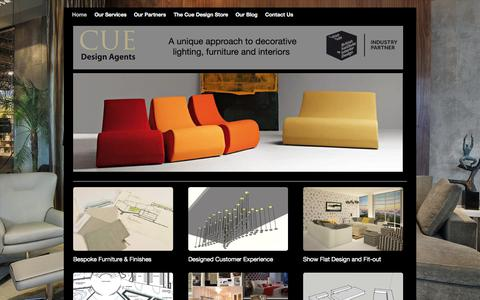 Screenshot of Home Page cueagents.com - About - Cue Design Agents - Blog - captured June 18, 2015