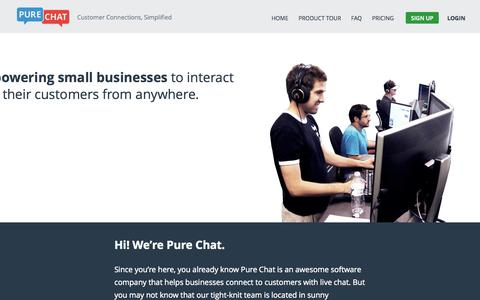 Screenshot of About Page purechat.com - About Pure Chat | Free Live Website Chat - captured Oct. 29, 2014