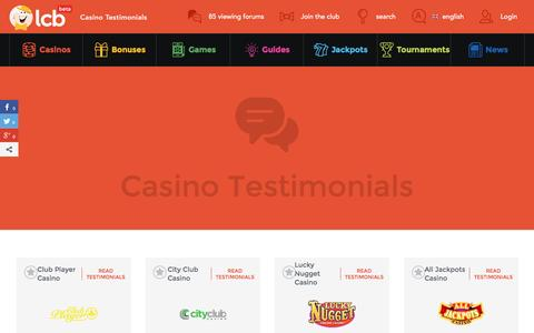 Screenshot of Testimonials Page latestcasinobonuses.com - LCB Testimonials - captured Aug. 22, 2016