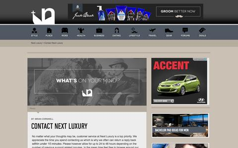 Screenshot of Contact Page nextluxury.com - Next Luxury - Contact Our Men's Publication - captured Sept. 23, 2014