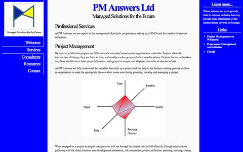 Screenshot of Services Page pm-answers.com - PM Answers Ltd - Professional Services - captured Oct. 1, 2014
