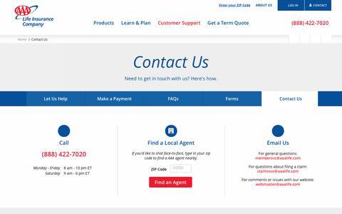Contact Us | AAA Life Insurance Company