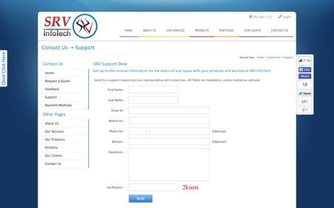 Screenshot of Support Page srvinfotech.com - Support Desk at SRV InfoTech :: Web Hosting | Web Design & Development | Domain Registration | SEO | Custom CMS | Web Apps | SMO | Bulk SMS | Voice Calls - captured Sept. 30, 2014