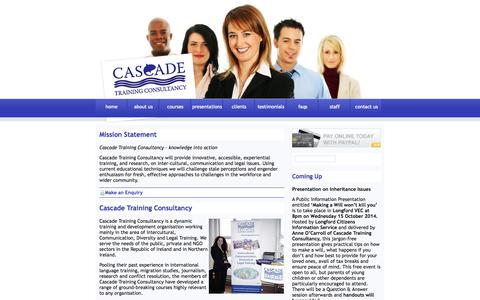 Screenshot of About Page cascadetrainingconsultancy.com - Cascade Training Consultancy Ireland - Educational Courses on Communication,Law, Management - captured Sept. 29, 2014