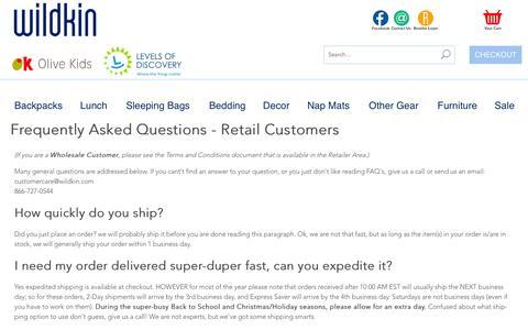 Screenshot of FAQ Page wildkin.com - wildkin: FAQs - captured Nov. 17, 2015