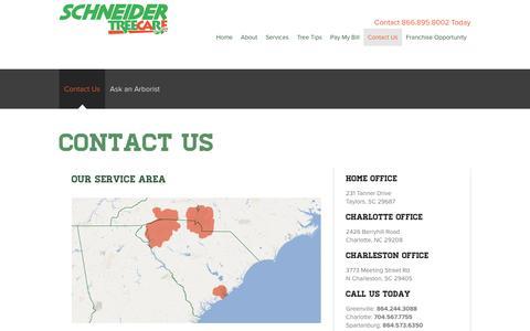 Screenshot of Contact Page schneidertree.com - Tree Care in South Carolina, North Carolina - Contact Schneider - captured Nov. 19, 2016