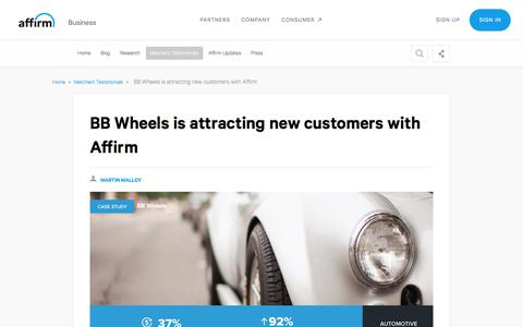 Screenshot of Case Studies Page affirm.com - BB Wheels is attracting new customers with Affirm - captured Dec. 4, 2019