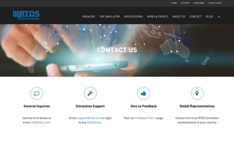Screenshot of Contact Page rtds.com - CONTACT US • RTDS Technologies Inc. - captured Oct. 18, 2018