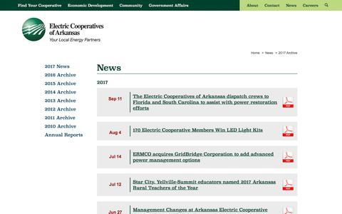 Screenshot of Press Page aecc.com - News | Electric Cooperatives of Arkansas - captured Oct. 8, 2017