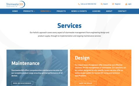 Screenshot of Services Page stormwater360.com.au - Services | Stormwater360 Australia - captured Oct. 18, 2018