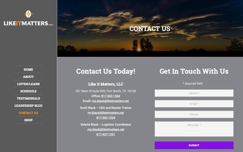 Screenshot of Contact Page likeitmatters.net - Contact Like It Matters, LLC. | Personal Development and Leadership - captured Nov. 10, 2018