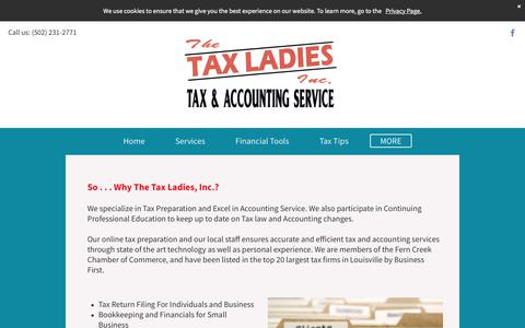 Screenshot of About Page thetaxladiesinc.com - The Tax Ladies : About Us - captured July 8, 2018