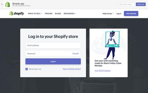 Screenshot of Login Page shopify.com - Login — Shopify - captured Nov. 1, 2017