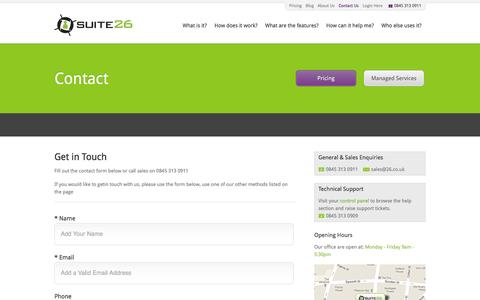 Screenshot of Contact Page 26.co.uk - Suite26   Email Marketing Contact Information   Email Marketing UK Location   Get in touch with Email Marketing Experts - captured Oct. 6, 2014