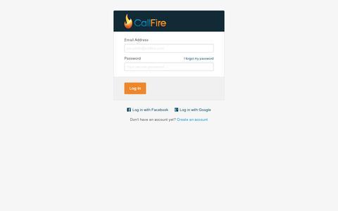 Screenshot of Login Page callfire.com - Log In | CallFire - captured July 18, 2014