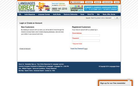 Screenshot of Login Page languages-direct.com - Customer Login - captured Sept. 25, 2014