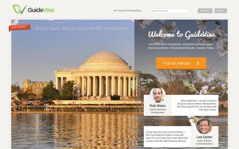Screenshot of Home Page guidevine.com - GuideVine: Find a Financial Advisor - captured Sept. 30, 2014