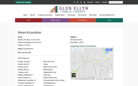 Screenshot of Hours Page gepl.org - Hours & Location - Glen Ellyn Public Library - captured Aug. 5, 2017