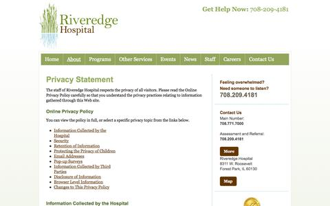 Screenshot of Privacy Page riveredgehospital.com - Riveredge Hospital  » Privacy Statement - captured Oct. 29, 2014