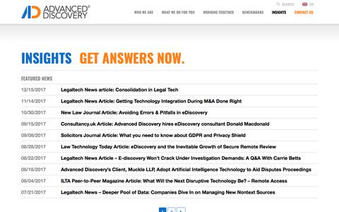 Screenshot of Press Page advanceddiscovery.com - News Archive - Advanced Discovery - captured Jan. 16, 2018