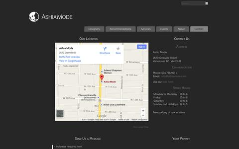 Screenshot of Contact Page Hours Page ashiamode.com - Ashia Mode - Contact Us - captured Oct. 23, 2014