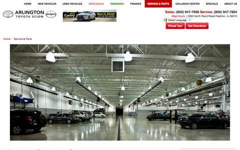 Screenshot of Services Page toyotaarlington.com - Service & Parts Center | Arlington Toyota | Palatine, IL - captured Nov. 2, 2014