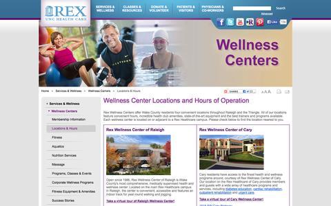 Screenshot of Hours Page rexhealth.com - Rex Wellness Centers Locations & Hours | Rex Hospital - Raleigh NC - captured Sept. 22, 2014