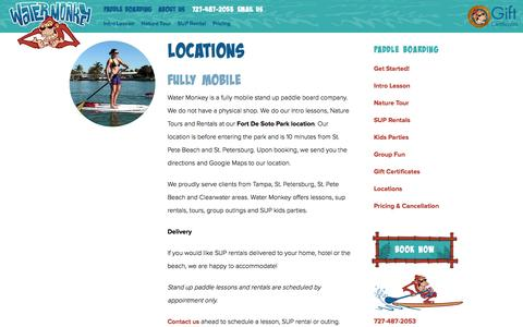 Screenshot of Locations Page watermonkeyshop.com - Locations | Water Monkey | SUP - Stand Up Paddle Boarding - captured Feb. 26, 2016