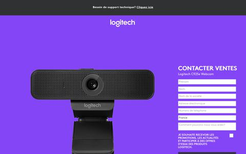 Screenshot of Landing Page logitech.com - Logitech C925e Webcam | Contact Us - captured Sept. 21, 2018