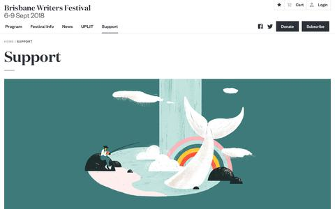 Screenshot of Support Page bwf.org.au - Support - Brisbane Writers Festival - captured July 6, 2018