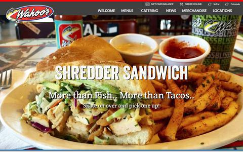 Screenshot of Home Page wahoos.com - HOME - Wahoo's Fish Taco - captured Oct. 20, 2017