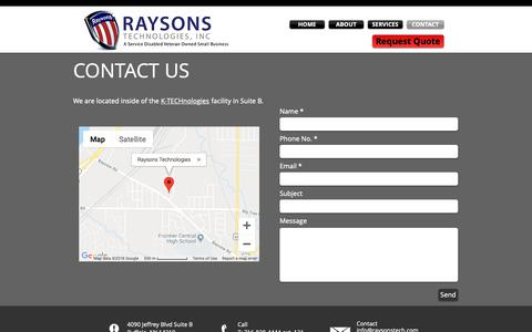 Screenshot of Contact Page raysonstech.com - Raysons Technologies | Contact | Buffalo, NY - captured Nov. 15, 2018