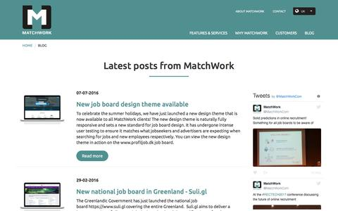 Screenshot of Blog matchwork.com - Latest blog posts from MatchWork job board software - captured May 27, 2017