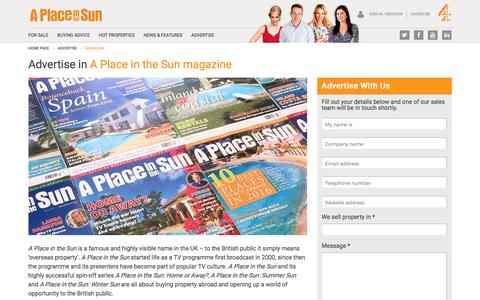 Advertise in the A Place in the Sun Magazine