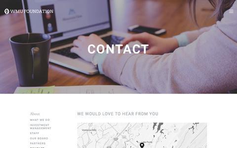 Screenshot of Contact Page wmufoundation.com - Contact — WMU Foundation - captured April 6, 2017