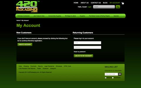 Screenshot of Login Page 420packaging.com - Welcome to 420Packaging.com  - #1 Wholesale Source for Medical Marijuana Containers and Packaging Supplies -Aphecal Enterprises - captured Sept. 23, 2014