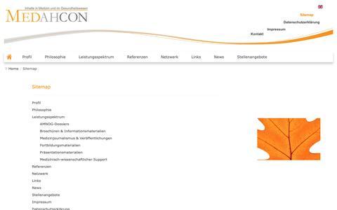 Screenshot of Site Map Page medahcon.de - Sitemap - captured Oct. 1, 2018