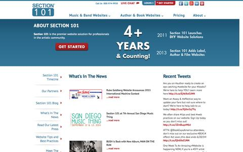 Screenshot of Press Page section101.com - What's In The News : Section 101 - captured Sept. 17, 2014