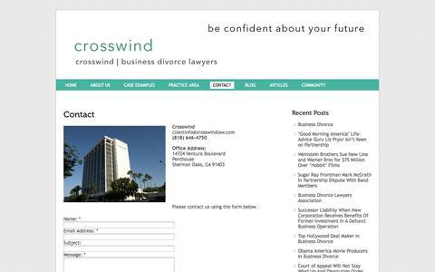 Screenshot of Contact Page crosswindlaw.com - Contact Business Divorce Attorney | CROSSWIND - captured Oct. 3, 2014