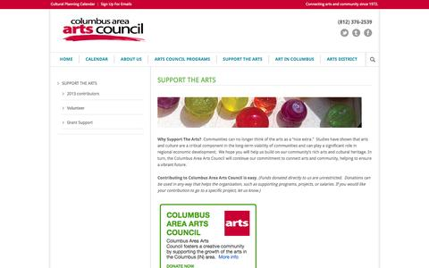 Screenshot of Support Page artsincolumbus.org - Columbus Area Arts Council  SUPPORT THE ARTS - Columbus Area Arts Council - captured Oct. 8, 2014