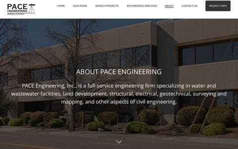 Screenshot of About Page paceengineering.us - Redding California Engineers, Professional California Civil Engineers - captured May 11, 2017