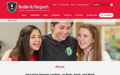 Screenshot of About Page bsmschool.org - About   Benilde-St. Margaret's School - captured Oct. 10, 2017