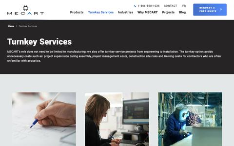 Screenshot of Services Page mecart.com - Turnkey Services - MECART - captured Oct. 2, 2018